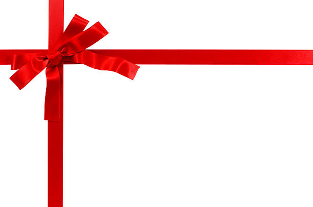 Bright red gift ribbon stock photo