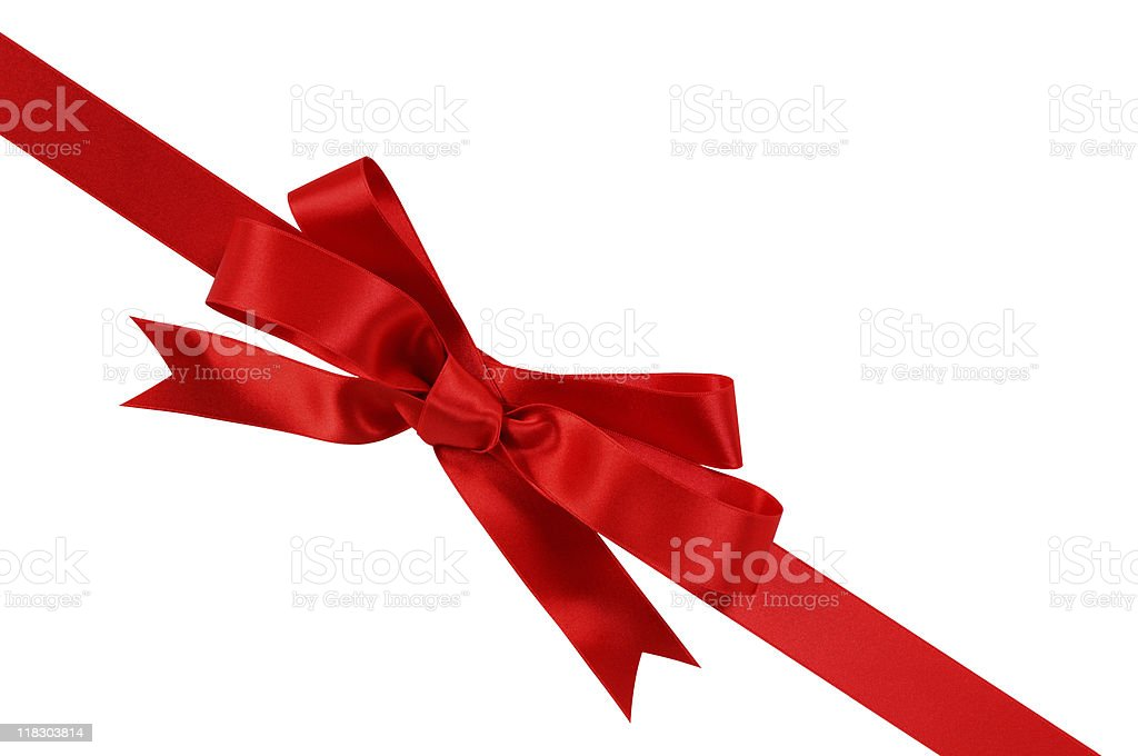 Bright red gift ribbon stock photo