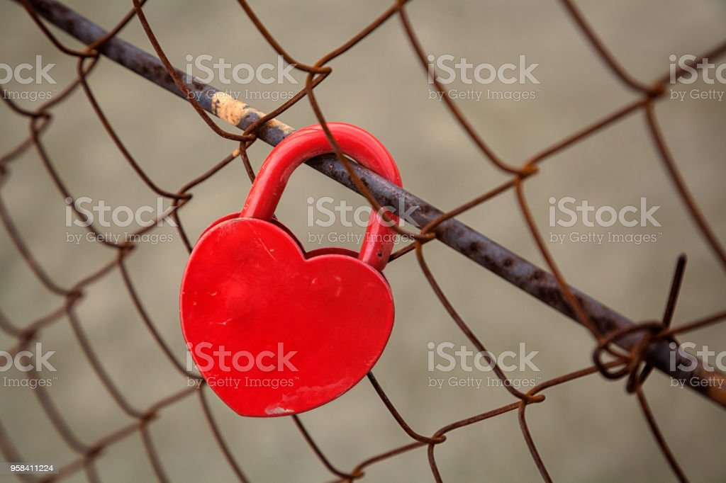 bright red lock stock photo