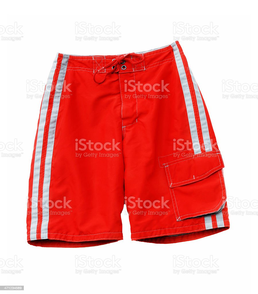 Bright red men's swim trunks stock photo