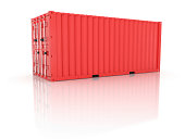 Bright red clean metal freight and closed shipping container on white background - photorealistic 3d render