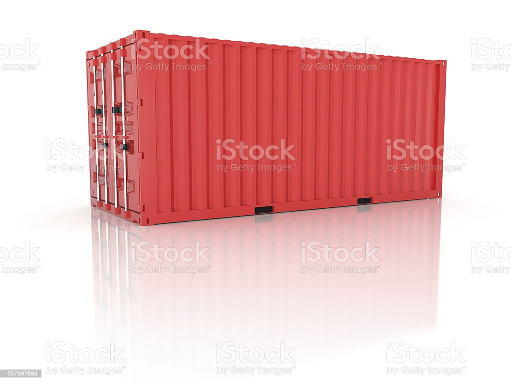 Bright red metal freight shipping container on white stock photo