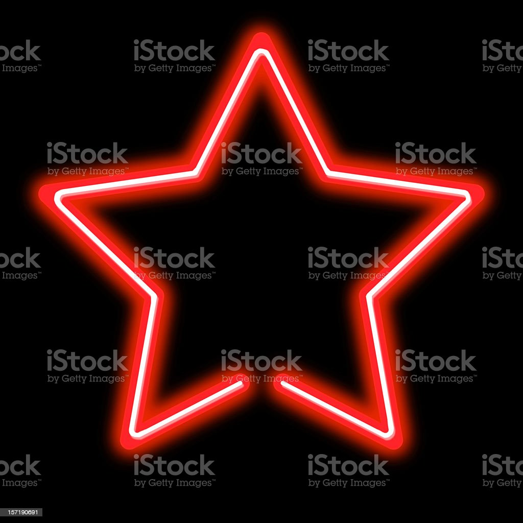 bright red neon star sign stock photo