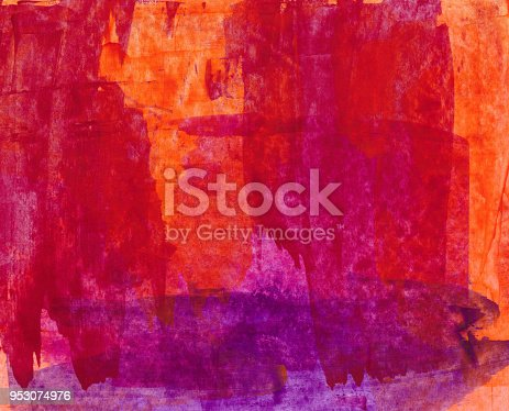 A hand painted mottled background. The prominent colors are shades of red, orange and purple. There is a texture throughout the painting.