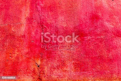 Bright Vibrant Colorful Red Orange Wall San Miguel de Allende Mexico