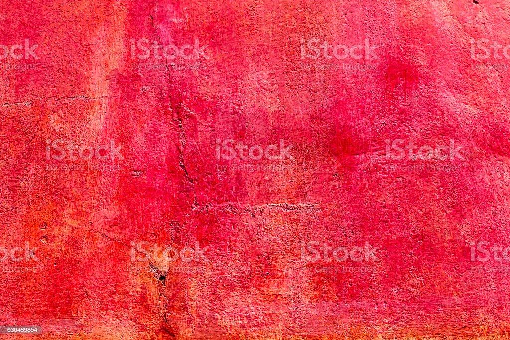 Bright Red Orange Wall San Miguel de Allende Mexico stock photo