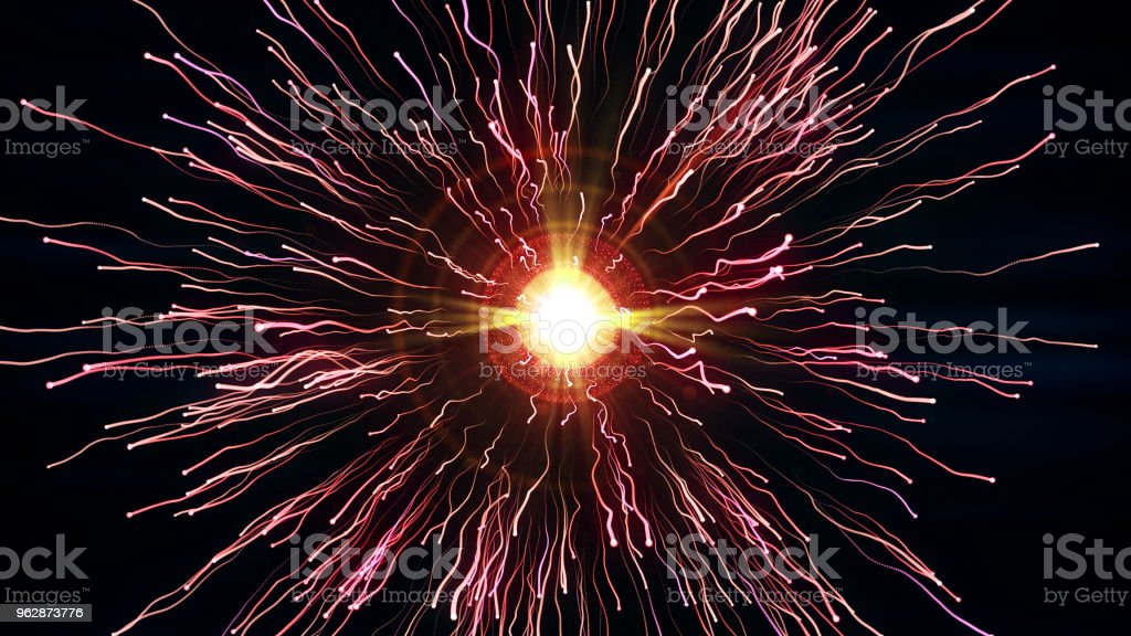 Bright red particles with streams collide and create explosion with trails stock photo