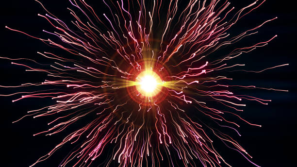bright red particles with streams collide and create explosion with trails - physics stock photos and pictures