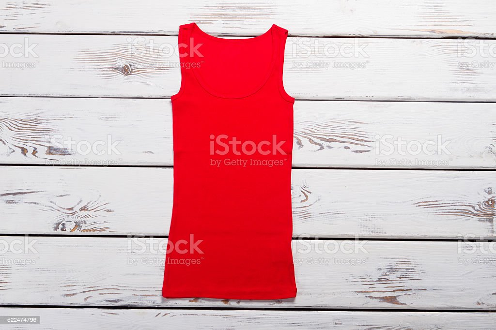 Bright red summer t-shirt. stock photo