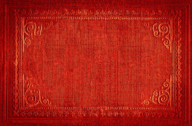 Bright red vintage background with embroidered ornamental frame, grunge texture stock photo
