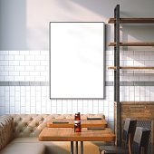 istock Bright restaurant interior with white canvas. 3d rendering 598711156