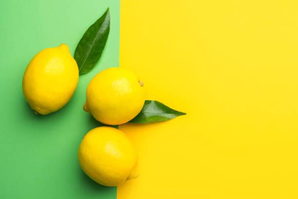 Helle reife Bio-Zitronen auf Kontrastduoton-Hintergrund aus der Kombination von Gelb-Grün. Kreative Lebensmittel. Sommergetränke Erfrischung Zutaten. Tropische Früchte Bio-Kosmetik Wellness – Foto