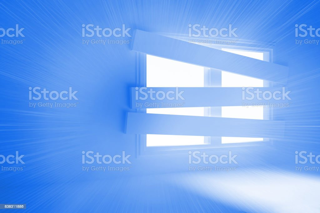 Bright room with bordered up window stock photo