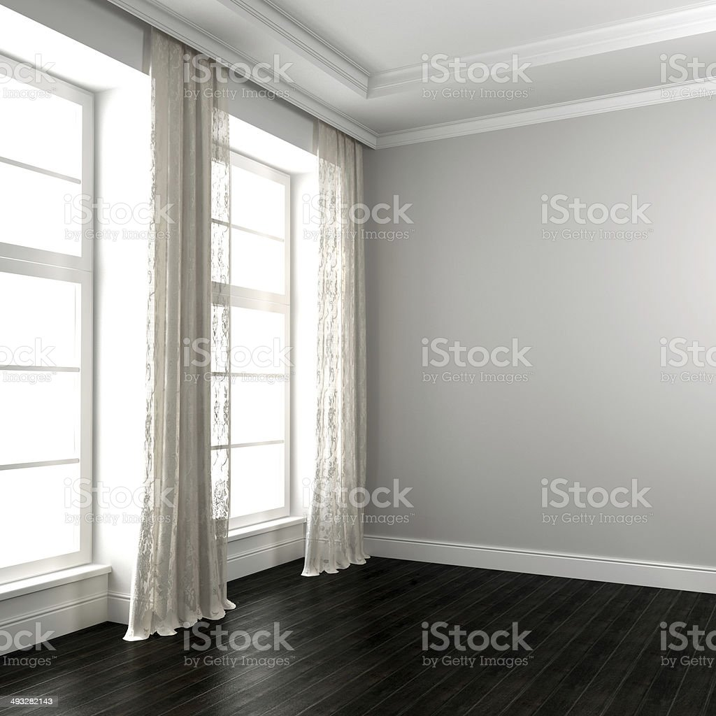 Bright room with dark floor stock photo