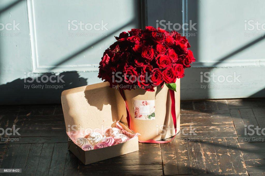 Bouquet de roses lumineux au studio - Photo