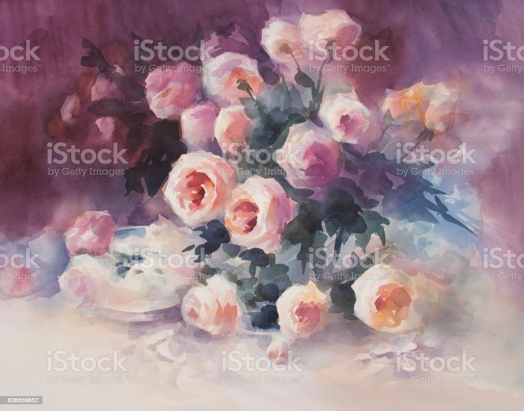 bright roses in the dark background watercolor stock photo