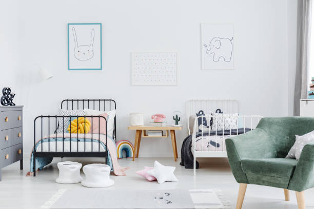 Bright scandinavian style bedroom interior with two metal frame kids picture id982995988?b=1&k=6&m=982995988&s=612x612&w=0&h=xq00grwawd 6lfrtnungehz39ouoqybwfp2r zcscew=