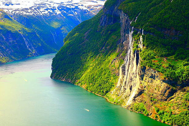 Bright Seven Sisters waterfall, Geiranger fjord, Norway stock photo