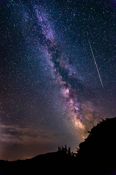bright shooting star with milky way galaxy clear starry night - shooting stars stock photos and pictures
