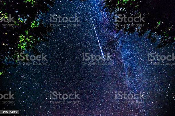 Photo of Bright shooting star with Milky Way Galaxy - stock image