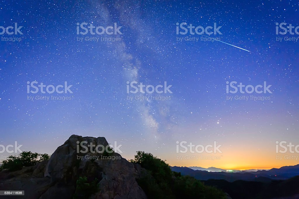 Bright shooting star with Milky Way Galaxy clear starry night
