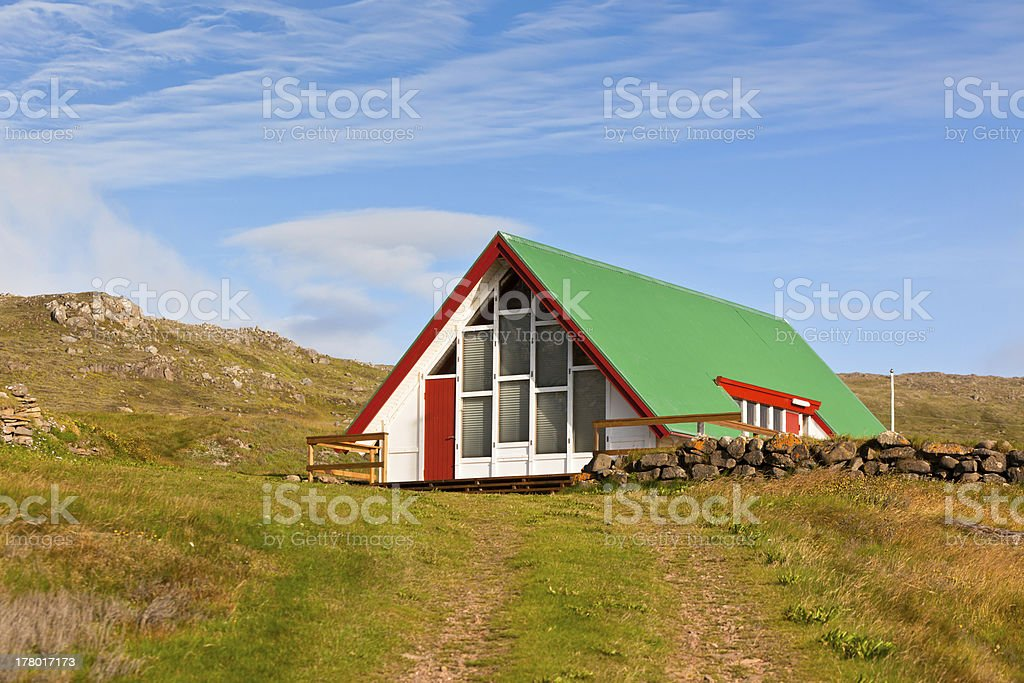 Bright Siding Houses in Small Iceland Town royalty-free stock photo