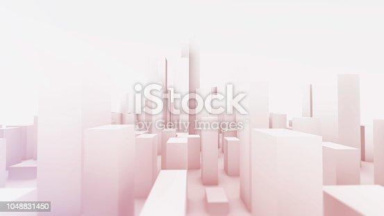 Bright simple city buildings panorama 3D render