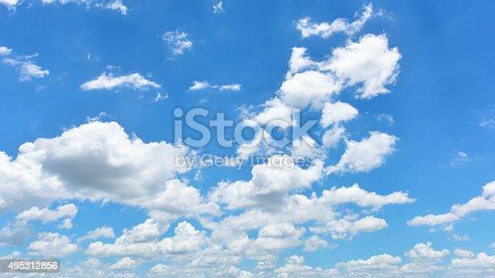 istock Bright sky and white cloud panorama 495312856