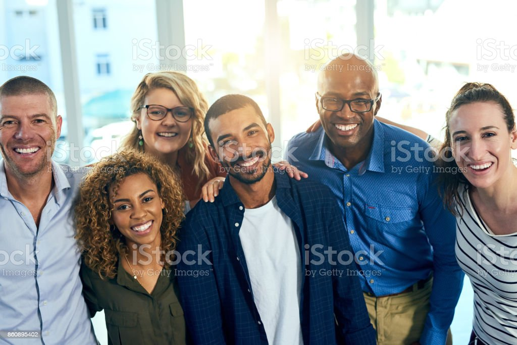 Bright smiles and bright futures together stock photo