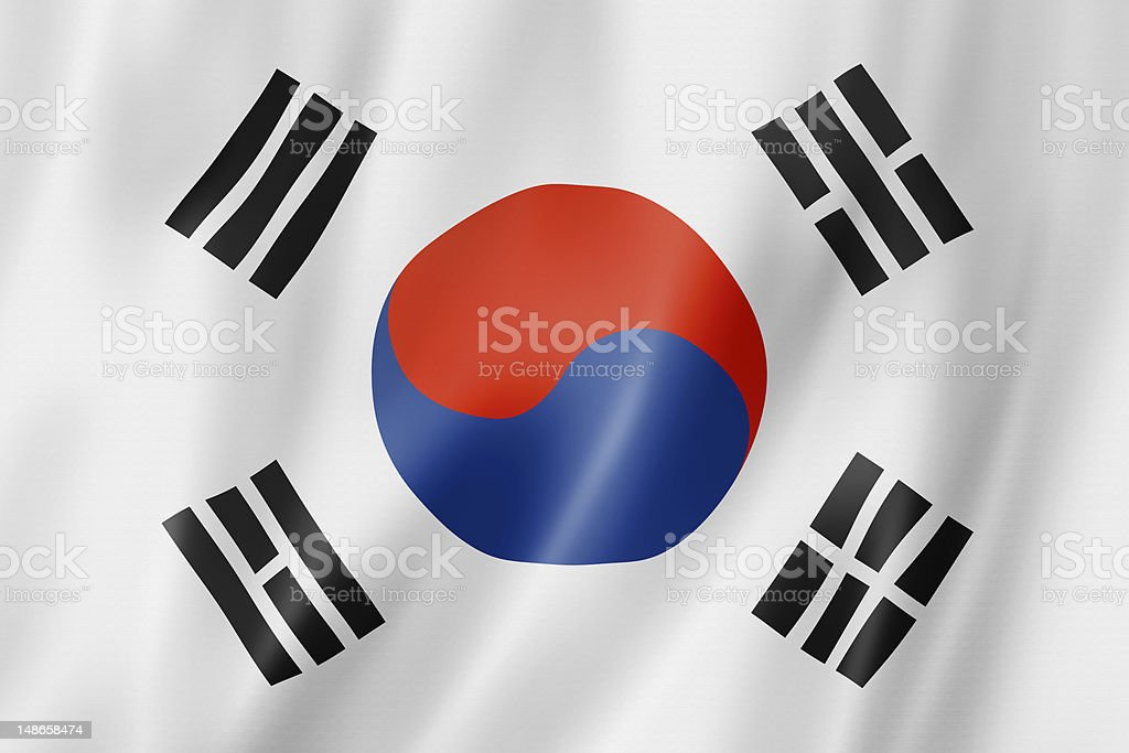 Bright South Korean flag on black background stock photo