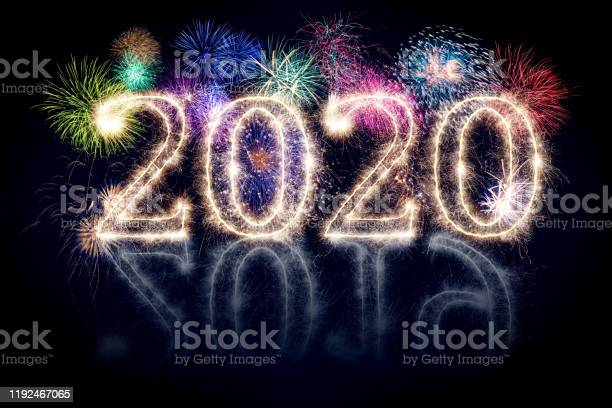 bright sparkler pyrotechnic fireworks number 2020 happy new year sylvester concept isolated black background