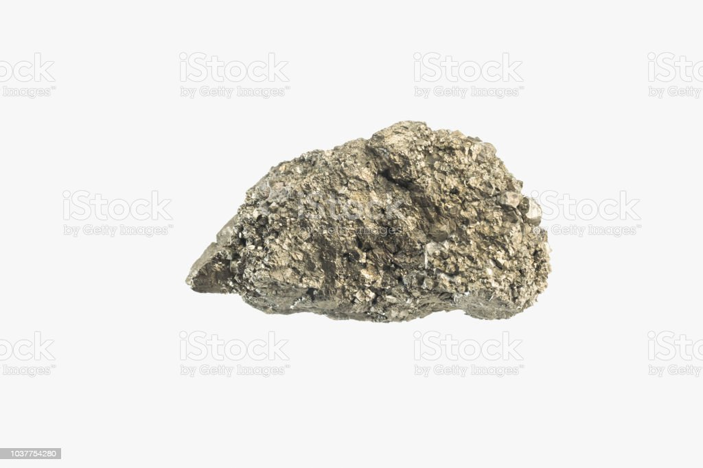 Bright Sparkling Raw Pyrite stone from China isolated. Macro shooting. stock photo