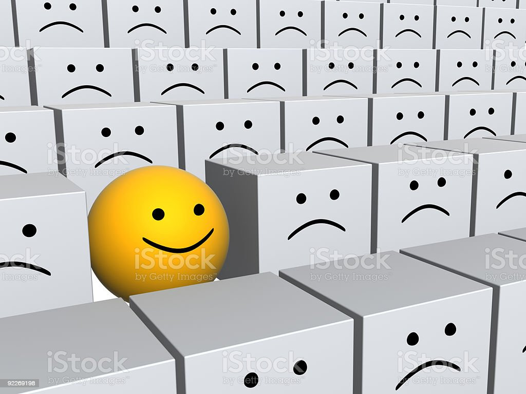 Bright sphere with smile in row of grey boxes royalty-free stock photo