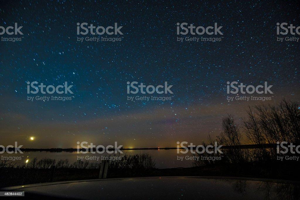 Bright stars on a summer night stock photo