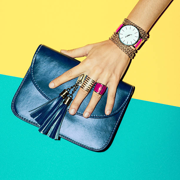 bright summer fashion accessories ladies. stylish clutch and jew - personal accessory stock photos and pictures