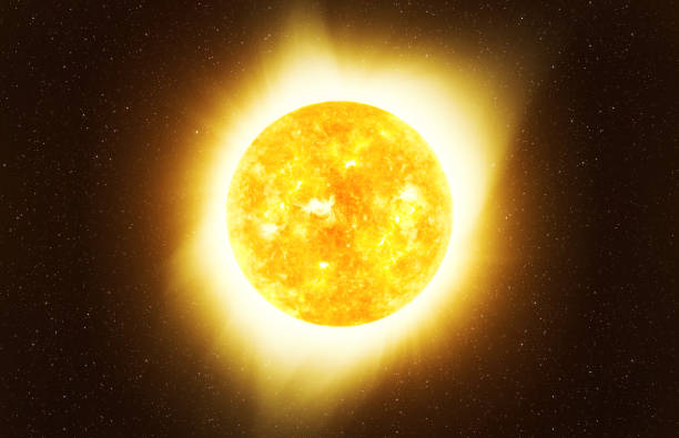 Bright Sun against dark starry sky in Solar System, elements of this image furnished by NASA stock photo
