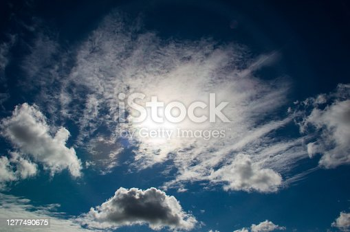 bright sun beams on blue sky and clouds backgrounds