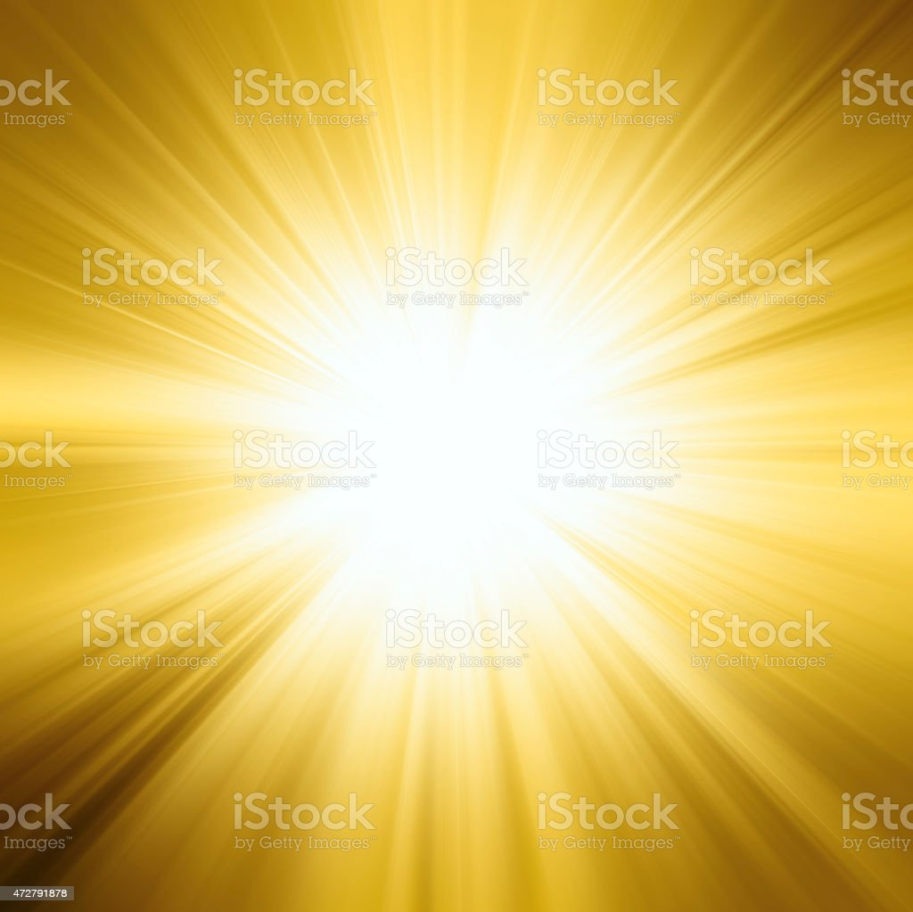 Bright sunbeams, shiny summer background with vibrant yellow & orange colors. stock photo
