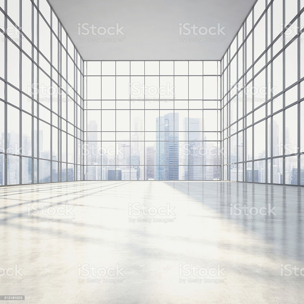 Bright sunny open plan interior with large windows stock photo