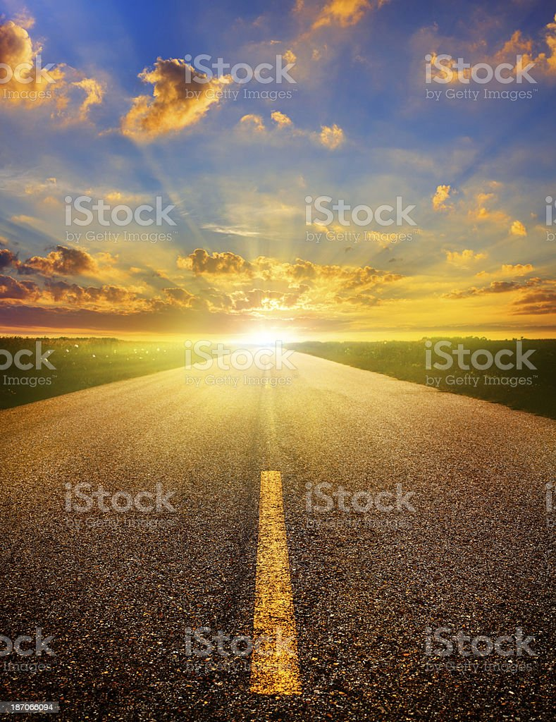 Bright Sunrise Road stock photo