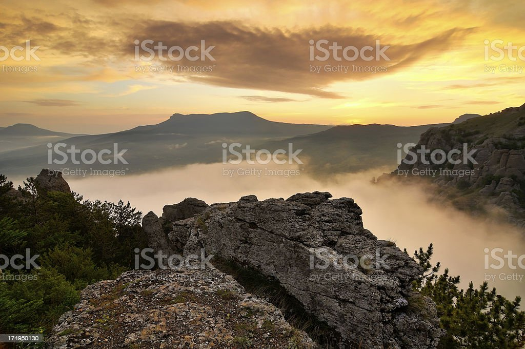 Bright sunset landscape in mountains stock photo