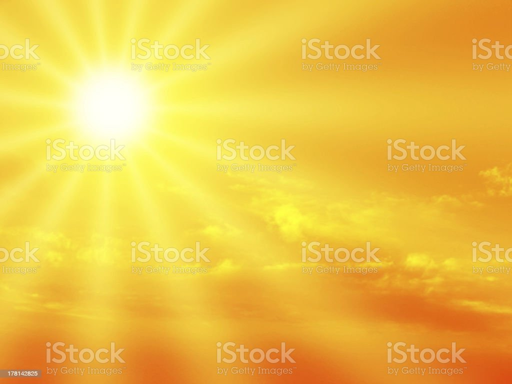 Bright sunshine graphic emanating from top left into yellow stock photo