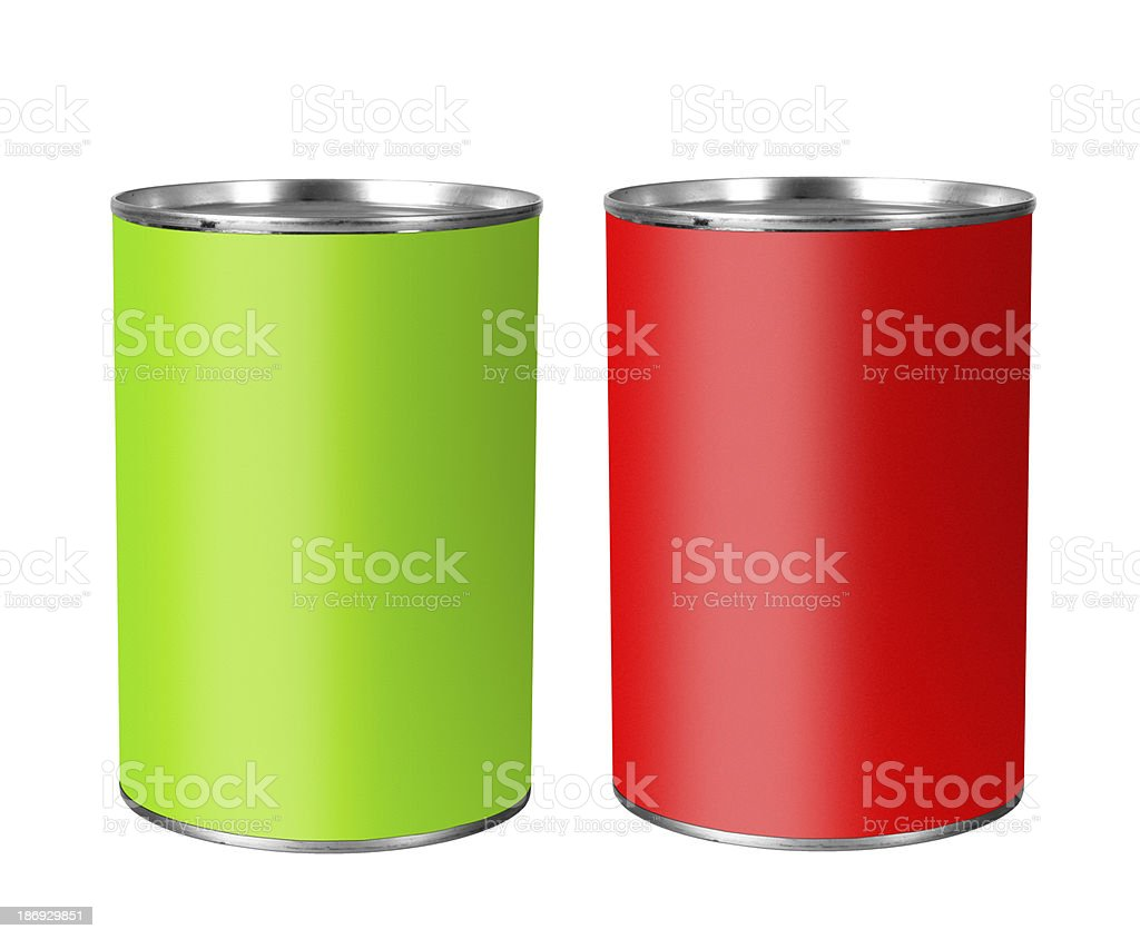 Bright tin cans isolated over white royalty-free stock photo