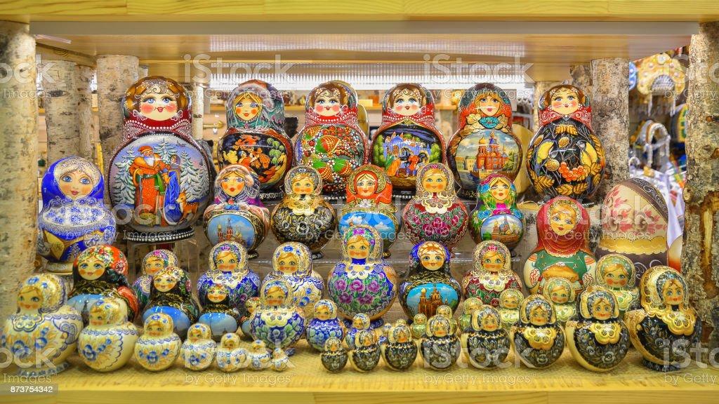 Bright traditional Russian souvenir - Matryoshka. Saint Petersburg stock photo