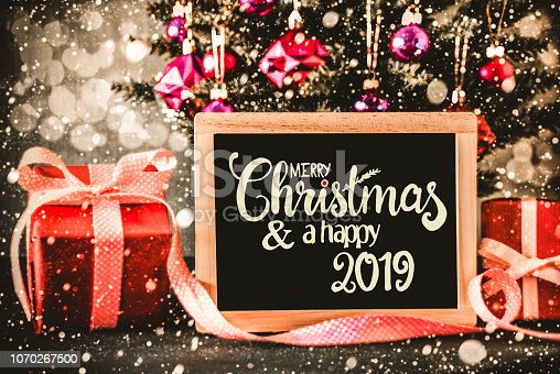 istock Bright Tree, Presents, Calligraphy Merry Christmas And A Hapy 2019 1070267500