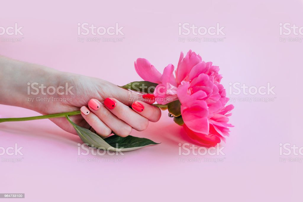 Bright trendy summer manicure royalty-free stock photo