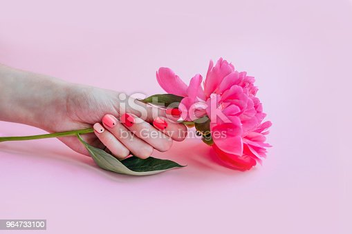 Bright Trendy Summer Manicure Stock Photo & More Pictures of Above