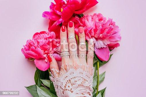 istock Bright trendy summer manicure 966799202