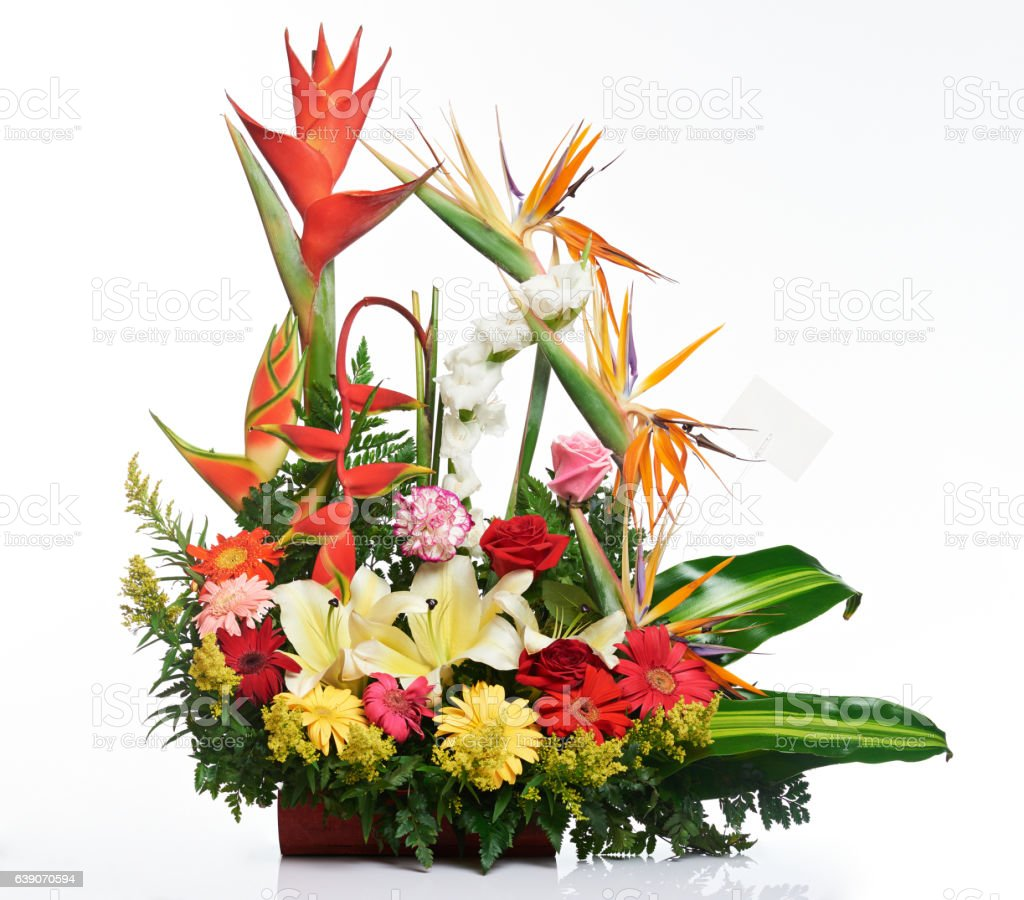 Bright tropical flower bouquet