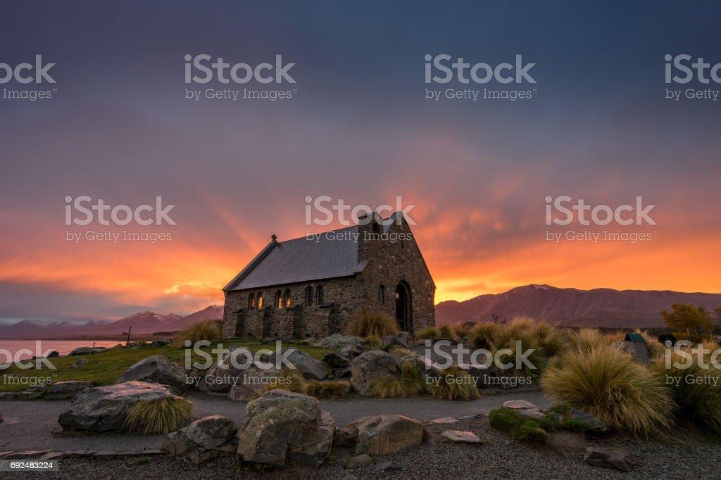 Bright twilight sky above church of the Good Shepherd stock photo